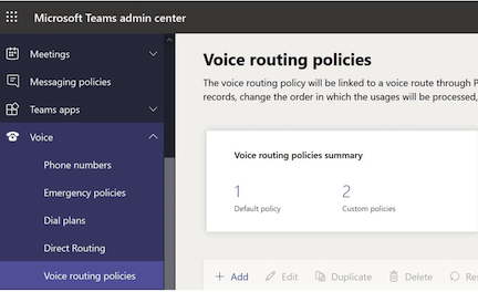 Adding Voice Routing Policies in Microsoft Teams