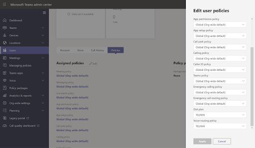 Assigning the Telnyx dial plan and voice routing policy in Microsoft Teams.